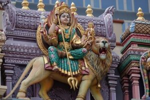 A statue of a lion and a girl in Singapore